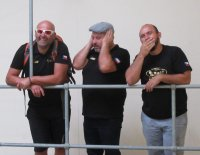 At the Castle Brewery in Nottingham. The Czech contingent being ; see no evil, hear no evil and speak no evil.  Left to right Daniel, Jaroslav Kovar and Radek Kovar